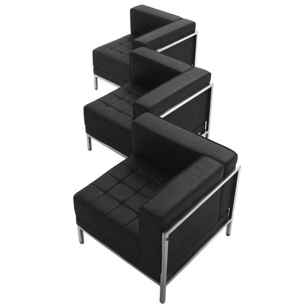 Wholesale HERCULES Imagination Series Black Leather 3 Piece Corner Chair Set