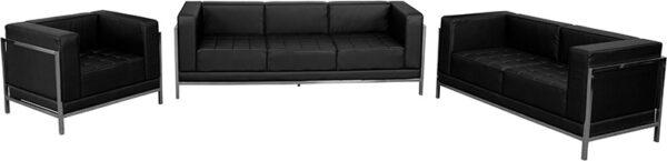 Lowest Price HERCULES Imagination Series Black Leather 3 Piece Sofa Set