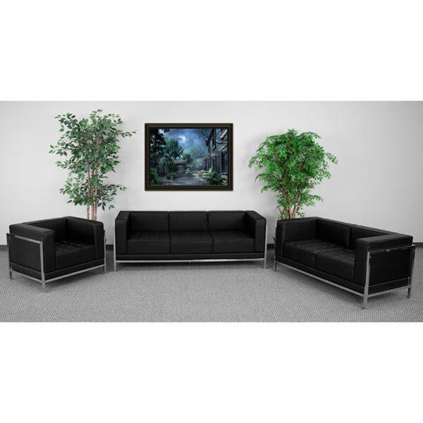 Wholesale HERCULES Imagination Series Black Leather 3 Piece Sofa Set