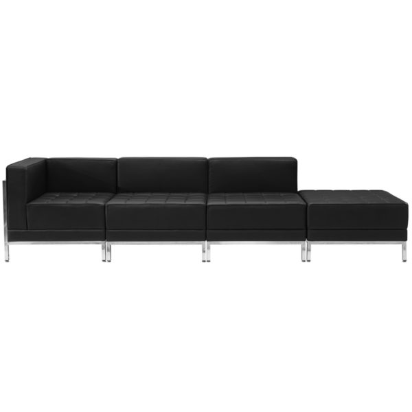 Wholesale HERCULES Imagination Series Black Leather 4 Piece Chair & Ottoman Set