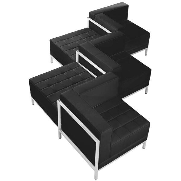 Lowest Price HERCULES Imagination Series Black Leather 5 Piece Chair & Ottoman Set