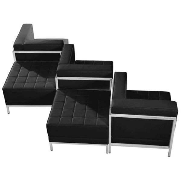 Wholesale HERCULES Imagination Series Black Leather 5 Piece Chair & Ottoman Set