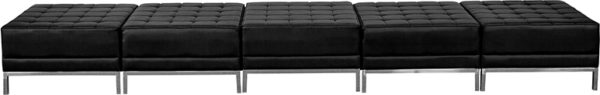 Lowest Price HERCULES Imagination Series Black Leather Five Seat Bench