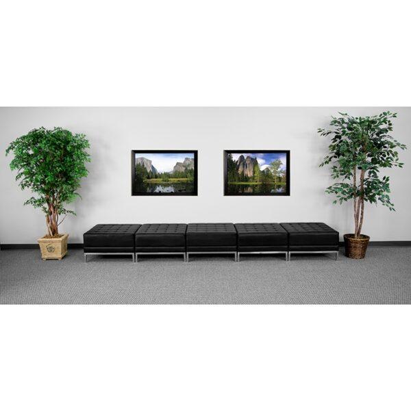 Wholesale HERCULES Imagination Series Black Leather Five Seat Bench