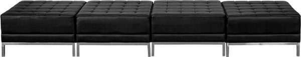 Lowest Price HERCULES Imagination Series Black Leather Four Seat Bench