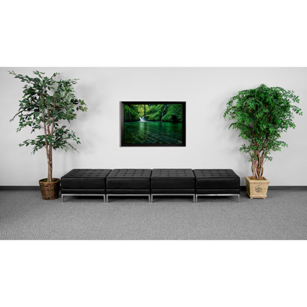 Wholesale HERCULES Imagination Series Black Leather Four Seat Bench