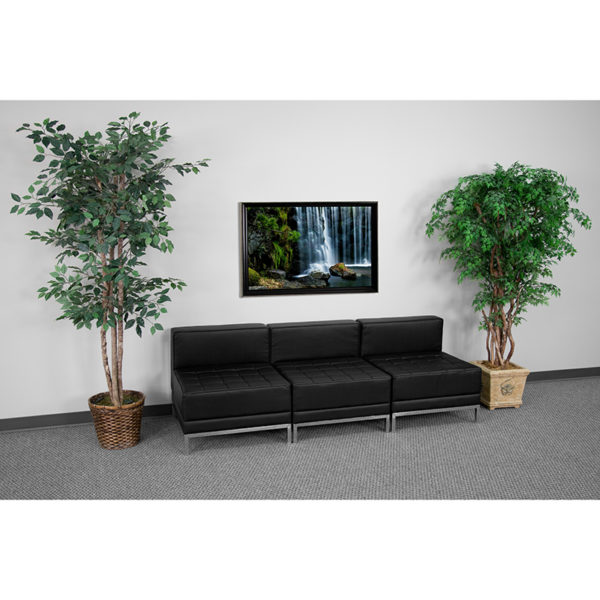 Wholesale HERCULES Imagination Series Black Leather Lounge Set