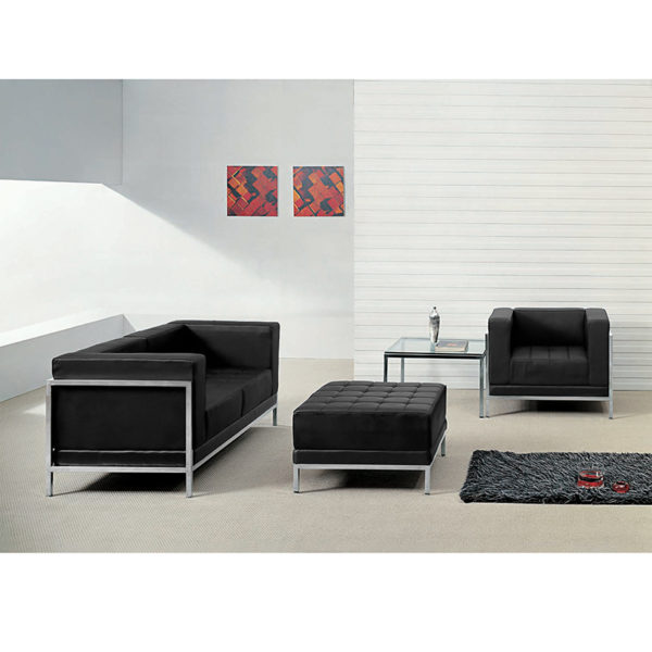 Wholesale HERCULES Imagination Series Black Leather Loveseat