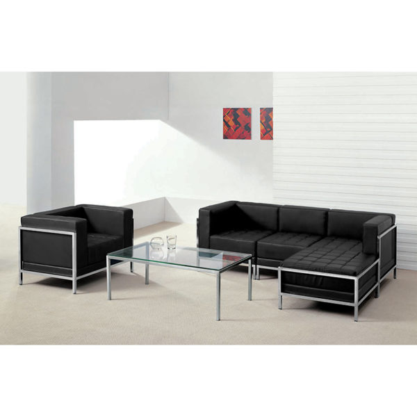 Wholesale HERCULES Imagination Series Black Leather Sectional & Chair