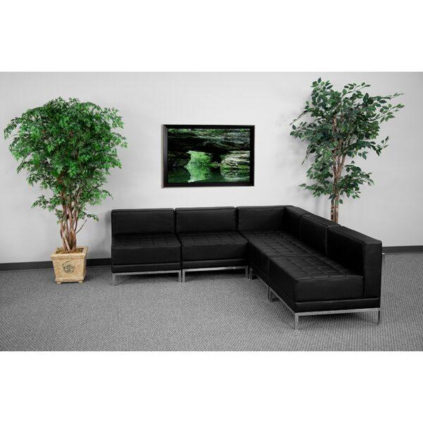 Wholesale HERCULES Imagination Series Black Leather Sectional Configuration