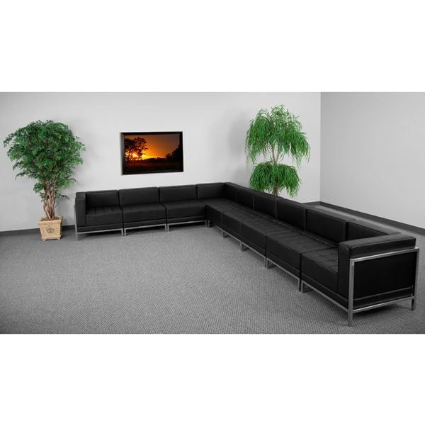 Wholesale HERCULES Imagination Series Black Leather Sectional Configuration
