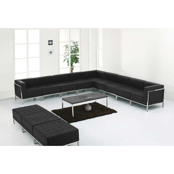 Wholesale HERCULES Imagination Series Black Leather Sectional & Ottoman Set