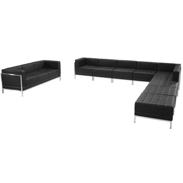 Wholesale HERCULES Imagination Series Black Leather Sectional & Sofa Set