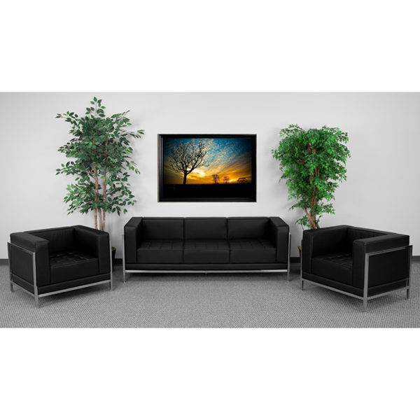 Wholesale HERCULES Imagination Series Black Leather Sofa & Chair Set
