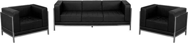 Lowest Price HERCULES Imagination Series Black Leather Sofa & Chair Set