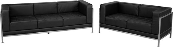 Lowest Price HERCULES Imagination Series Black Leather Sofa & Loveseat Set