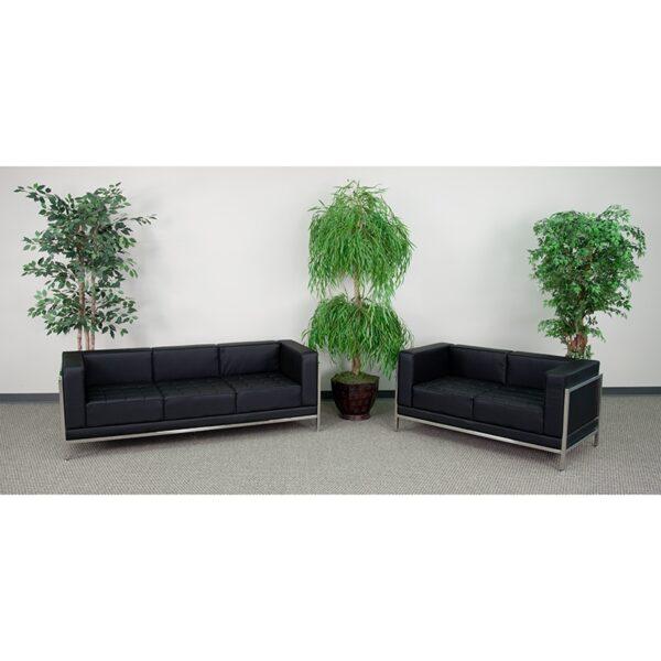 Wholesale HERCULES Imagination Series Black Leather Sofa & Loveseat Set