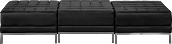 Lowest Price HERCULES Imagination Series Black Leather Three Seat Bench