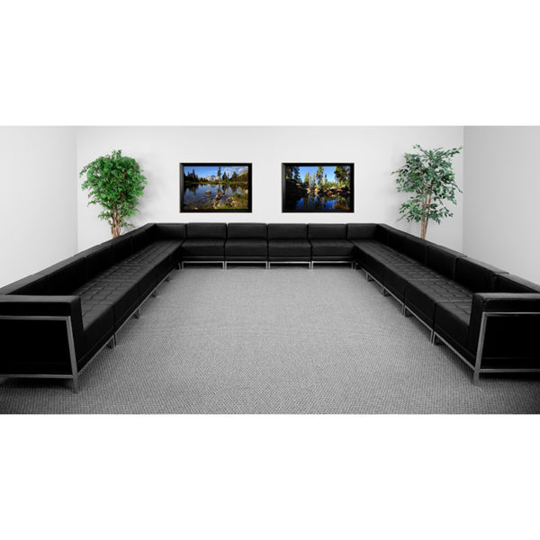 Wholesale HERCULES Imagination Series Black Leather U-Shape Sectional Configuration