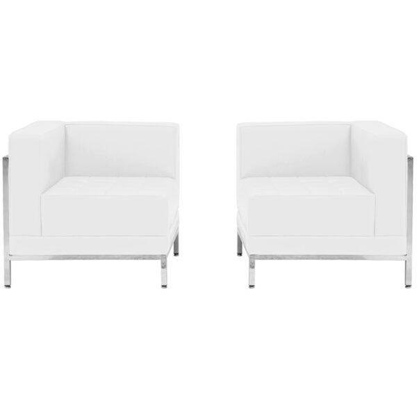 Wholesale HERCULES Imagination Series Melrose White Leather 2 Piece Corner Chair Set