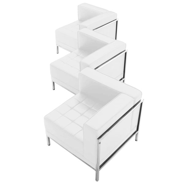 Wholesale HERCULES Imagination Series Melrose White Leather 3 Piece Corner Chair Set