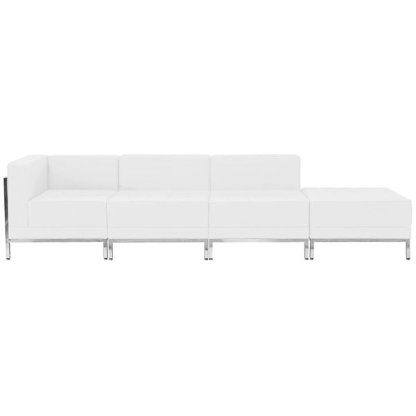 Wholesale HERCULES Imagination Series Melrose White Leather 4 Piece Chair & Ottoman Set