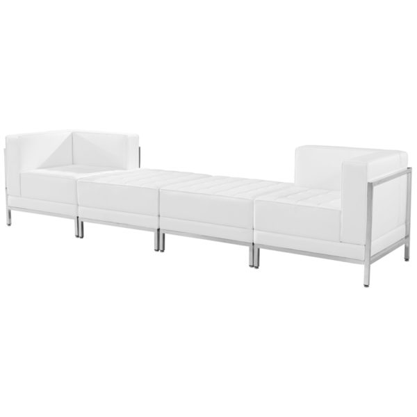 Lowest Price HERCULES Imagination Series Melrose White Leather 4 Piece Chair & Ottoman Set