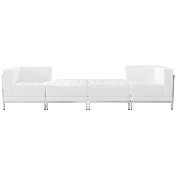 Wholesale HERCULES Imagination Series Melrose White Leather 4 Piece Chair & Ottoman Set