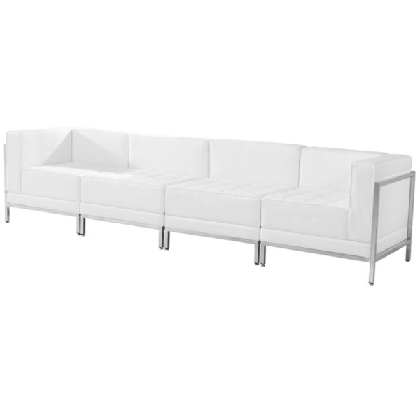 Lowest Price HERCULES Imagination Series Melrose White Leather 4 Piece Lounge Set