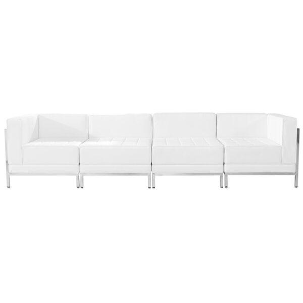 Wholesale HERCULES Imagination Series Melrose White Leather 4 Piece Lounge Set