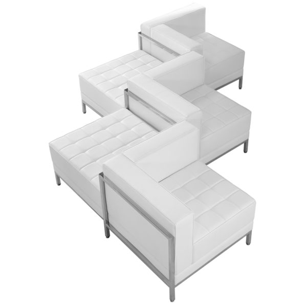 Lowest Price HERCULES Imagination Series Melrose White Leather 5 Piece Chair & Ottoman Set