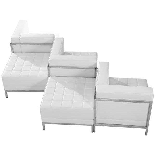 Wholesale HERCULES Imagination Series Melrose White Leather 5 Piece Chair & Ottoman Set