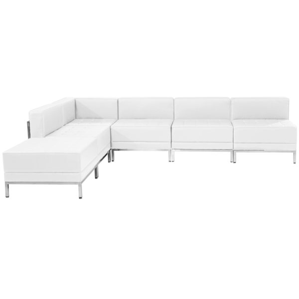 Wholesale HERCULES Imagination Series Melrose White Leather Sectional Configuration