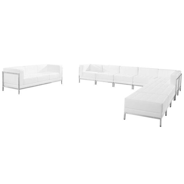 Wholesale HERCULES Imagination Series Melrose White Leather Sectional & Sofa Set