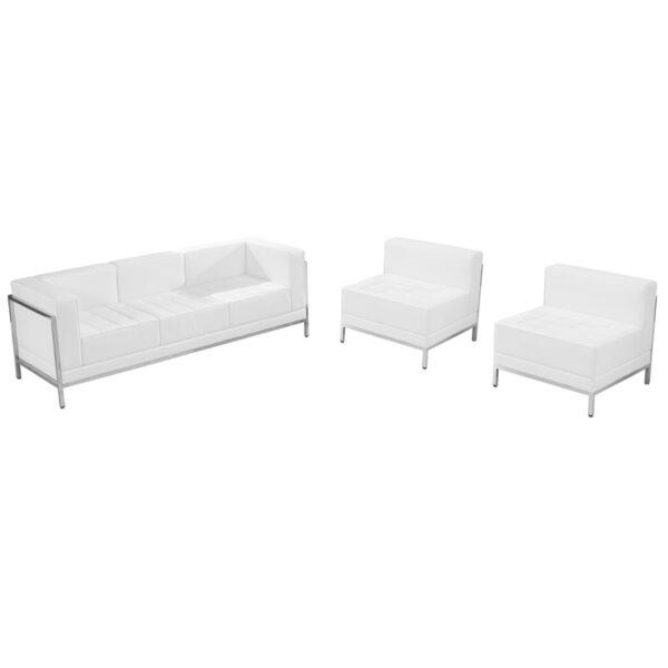 Wholesale HERCULES Imagination Series Melrose White Leather Sofa & Chair Set