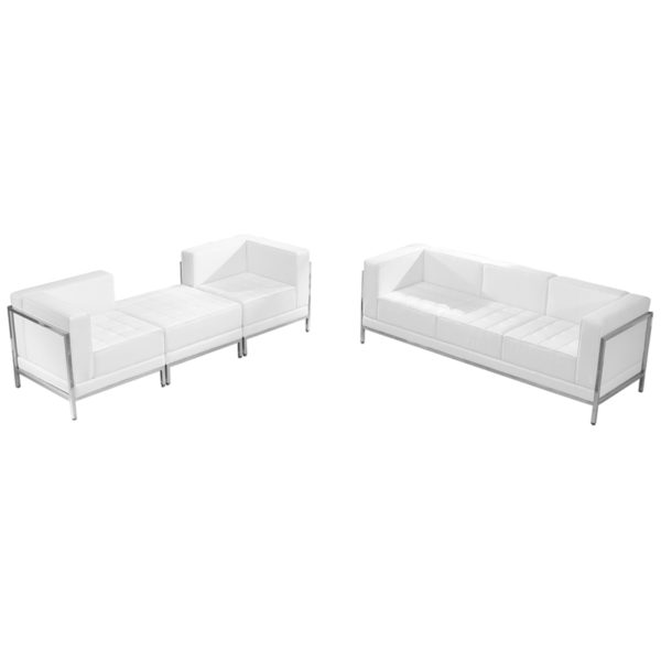 Wholesale HERCULES Imagination Series Melrose White Leather Sofa & Lounge Chair Set