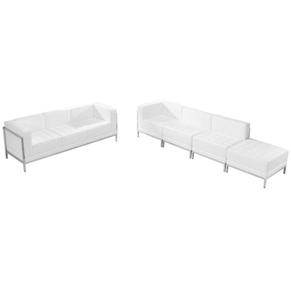 Wholesale HERCULES Imagination Series Melrose White Leather Sofa & Lounge Chair Set