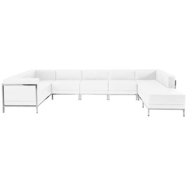 Wholesale HERCULES Imagination Series Melrose White Leather U-Shape Sectional Configuration