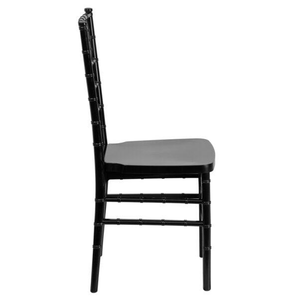 Lowest Price HERCULES PREMIUM Series Black Resin Stacking Chiavari Chair