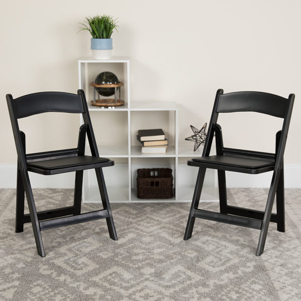 Lowest Price HERCULES Series 1000 lb. Capacity Black Resin Folding Chair with Black Vinyl Padded Seat