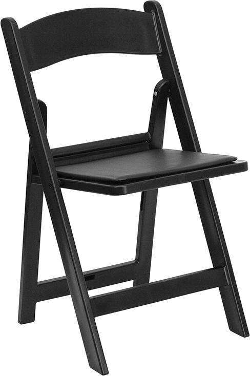 Wholesale HERCULES Series 1000 lb. Capacity Black Resin Folding Chair with Black Vinyl Padded Seat