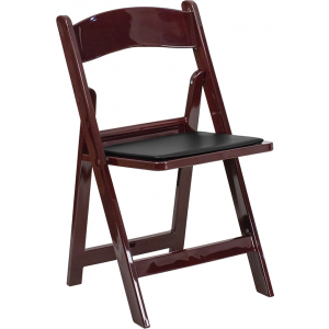Wholesale HERCULES Series 1000 lb. Capacity Red Mahogany Resin Folding Chair with Black Vinyl Padded Seat