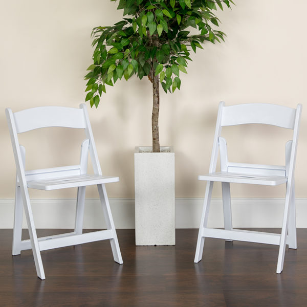 Lowest Price HERCULES Series 1000 lb. Capacity White Resin Folding Chair with Slatted Seat