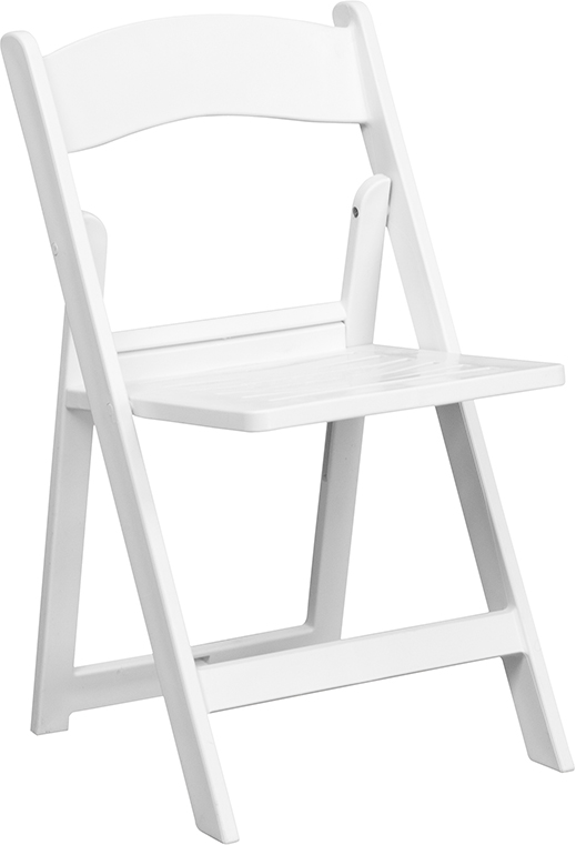 Wholesale HERCULES Series 1000 lb. Capacity White Resin Folding Chair with Slatted Seat