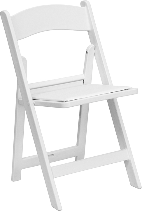 Wholesale HERCULES Series 1000 lb. Capacity White Resin Folding Chair with White Vinyl Padded Seat