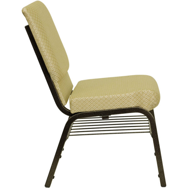 Lowest Price HERCULES Series 18.5''W Church Chair in Beige Patterned Fabric with Book Rack - Gold Vein Frame