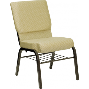Wholesale HERCULES Series 18.5''W Church Chair in Beige Patterned Fabric with Book Rack - Gold Vein Frame