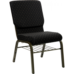 Wholesale HERCULES Series 18.5''W Church Chair in Black Dot Patterned Fabric with Book Rack - Gold Vein Frame