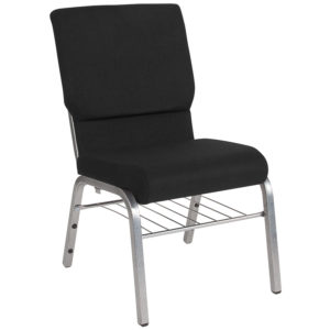 Wholesale HERCULES Series 18.5''W Church Chair in Black Fabric with Book Rack - Silver Vein Frame