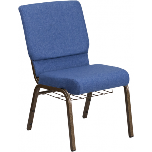Wholesale HERCULES Series 18.5''W Church Chair in Blue Fabric with Cup Book Rack - Gold Vein Frame